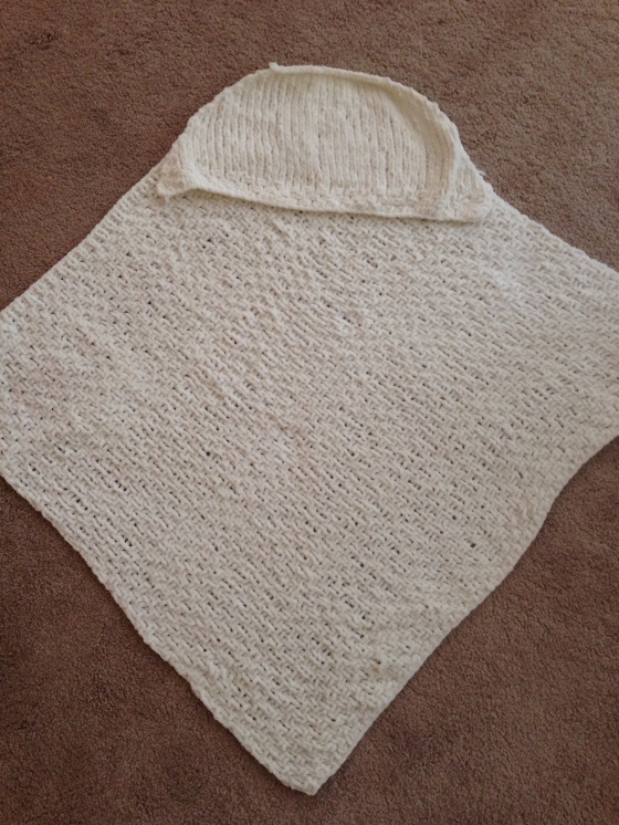 Sweet and soft chunky knit baby blanket.
