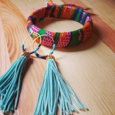 Makena cloth wrapped bracelet and tassel earrings.